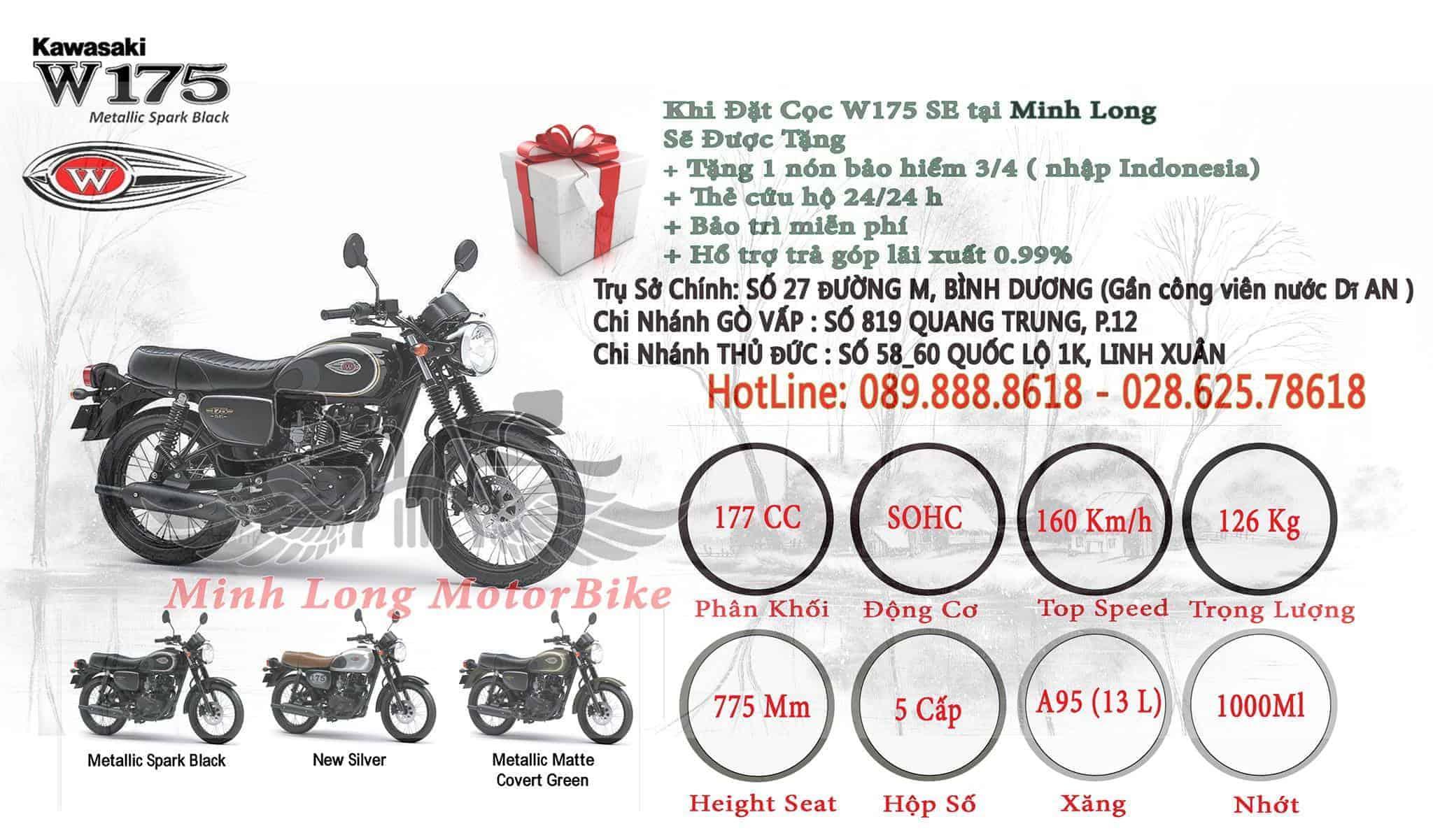 Giá xe W175và chính sách trả góp tại Minh Long.