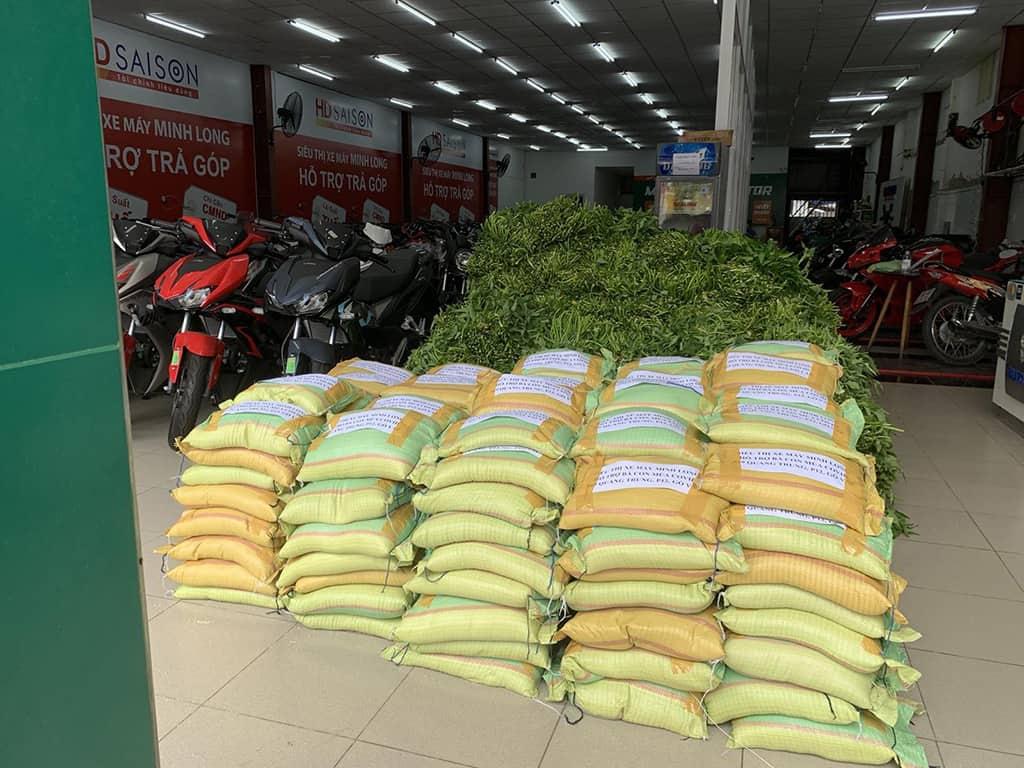 Gạo và rau xanh cứu trợ